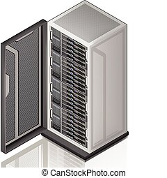 Network Server Rack Isometric 3D Icon (part of the Computer Hardware Icons Set)