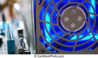 Network Server Rack Panel with hard disks in a data center...