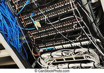 network server room routers and cables