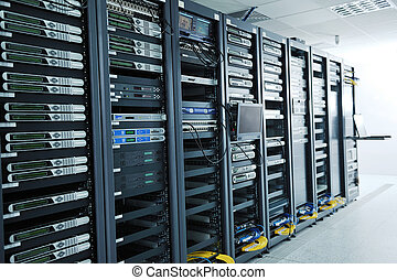network server room with computers for digital tv ip ...