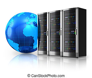 Network servers and Earth globe - Internet and global...