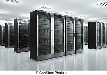 Modern network and communication concept: server room in datacenter Design of servers is totally my own and fully original and all text labels and numbers are fully abstract
