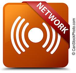 Network (signal icon) brown square button red ribbon in corner