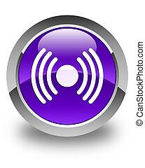 Network signal icon glossy purple round button