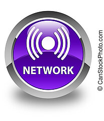 Network (signal icon) glossy purple round button