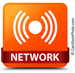 Network (signal icon) orange square button red ribbon in middle