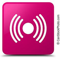 Network signal icon pink square button
