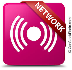 Network (signal icon) pink square button red ribbon in corner
