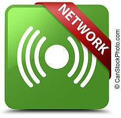 Network (signal icon) soft green square button red ribbon in corner