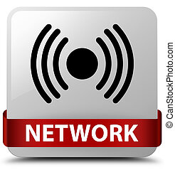 Network (signal icon) white square button red ribbon in middle