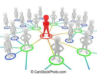 network., socios, gente, -, pequeño, 3d