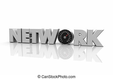Network Speedometer Fast Access Speed Word 3d Illustration