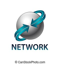 Network sphere rotate blue arrow logo concept design template