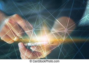 network., společnost, abstraktní, connected., technika