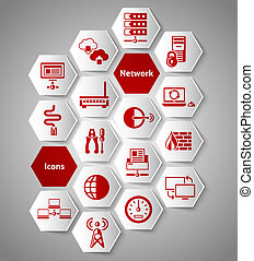 Network stickers set - Network data security icons paper...