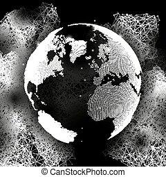 network., struttura, globo, scienza, globale, molecola, comunicazione, vettore, nero, illustrazione, fondo, mondo