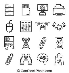 Network technology digital devices icons