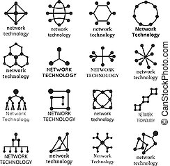 Network technology symbols. Data molecule icons