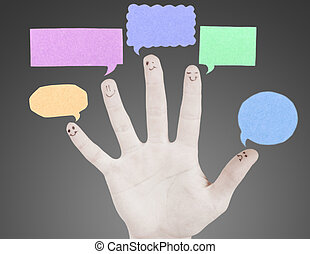 network., thought., gruppo, dita, segno, smileys, discorso, dito, chiacchierata, sociale, rappresentare, felice