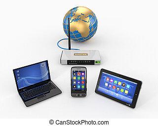 network., vía, tableta, hogar, computador portatil, wifi, pc., teléfono, internet, rúter, 3d