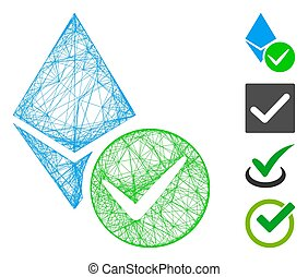 Vector network valid Ethereum crystal. Geometric hatched carcass flat network generated with valid Ethereum crystal icon, designed with crossing lines. Some bonus icons are added.