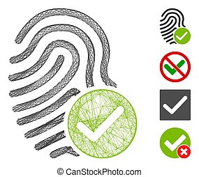 Vector net valid fingerprint. Geometric wire frame 2D net made from valid fingerprint icon, designed from crossed lines. Some bonus icons are added.