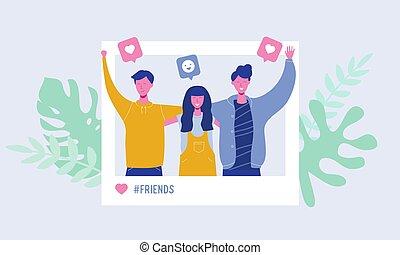 network., vriendschap, set, mensen, concept, foto, tieners, students., mannelijke nakomeling, illustratie, karakters, aanhangers, vrouwlijk, sociaal, vervaardiging, verhalen, houden van, team, vector, vrolijke