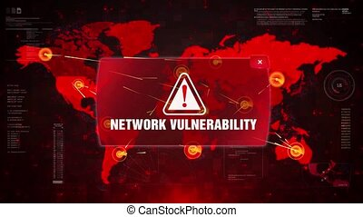 Network Vulnerability Alert Warning Message Attack on World map. Wire frame Radar Network Seamless loop Motion Background. UI Elements HUD Sci Fi interface.