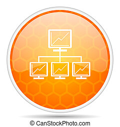 Network web icon. Round orange glossy internet button for webdesign.