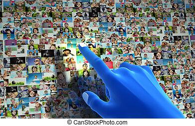 network., wijzende, mensen, media, hand, sociaal