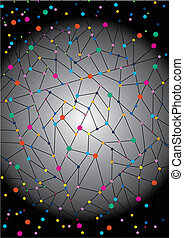gradient background with a network of fine lines and colored knots
