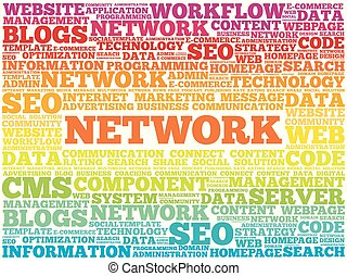 Network word cloud collage, technology business concept...