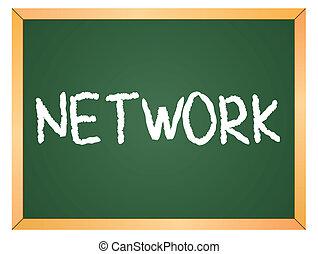 network word on chalkboard