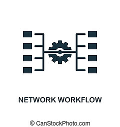 Network Workflow icon. Monochrome style design from big data icon collection. UI. Pixel perfect simple pictogram network workflow icon. Web design, apps, software, print usage.