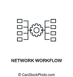 Network Workflow outline icon. Thin line style from big data icons collection. Pixel perfect simple element network workflow icon for web design, apps, software, print usage