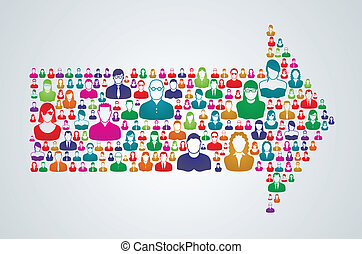network_Group_Direction - Group of people move forward in a...