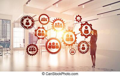 networking, és, társadalmi, kommunikáció, fogalom, mint, effektív, mutat, f