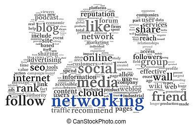 networking , ετικέτα , κοινωνικός , λέξη , conept, σύνεφο