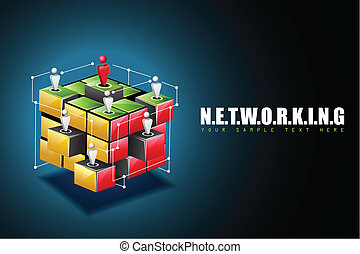 Networking Background - illustration of human connecting...