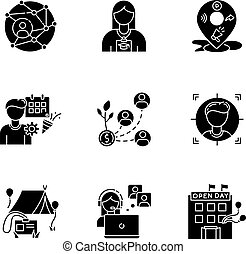 Networking black glyph icons set on white space
