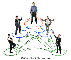 networking businessman drawing scheme on white background,...