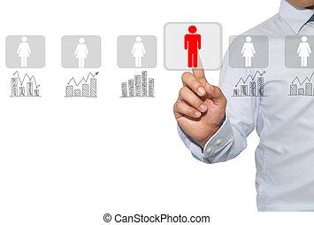 networking, centro, minerario, dati, media., reclutamento, umano, sociale, valutazione, risorse