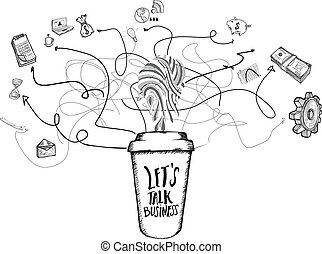 Networking concept doodles with coffee cup on white...