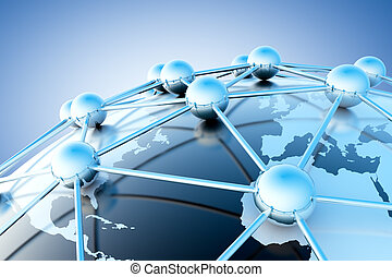 Networking concept - Networking and internet concept with...