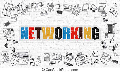 Networking Concept with Doodle Design Icons.