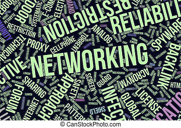 Networking, conceptual word cloud for business, information technology or IT.