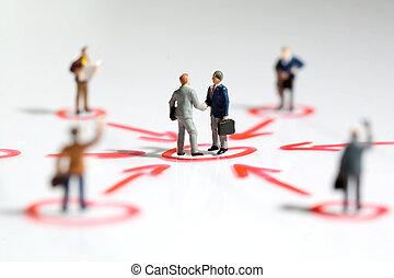 networking, e, sostegno, in, affari