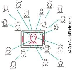 networking, folk, vektor, konstruktion, sociale, begrebsmæssig