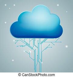 networking, gegevensverwerking, concept, concept., ontwerp, plank, circuit, wolk