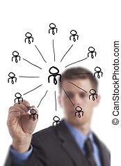 networking, grupo, desenho, homem negócio